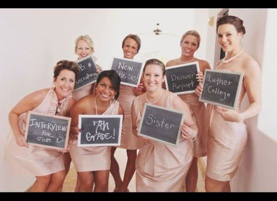 Snap a photo of the bridesmaids showing how they each met the bride, could do this for the groomsmen as well!