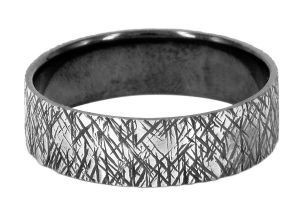 Spinless with heavy chopped pattern 6mm ring or wedding ring in sterling silver - $250