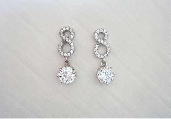 2.56ct Infinity 925 Silver Earrings with natural simulated