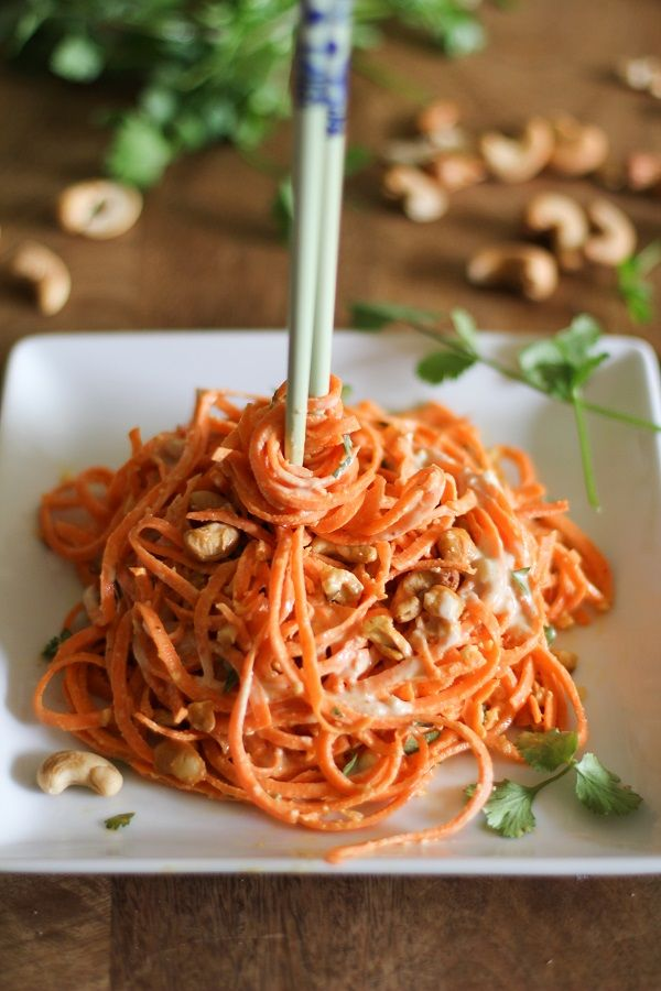 Raw Carrot Pasta with Ginger-Lime Peanut Sauce If you looking for more clean eating recipes check out-> yummspiration.com We have some Vegan & Raw recipes too :) We are also on facebook.com/yummspiration