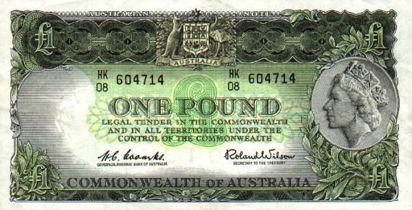 Australian pre-decimal £1 note - Front.