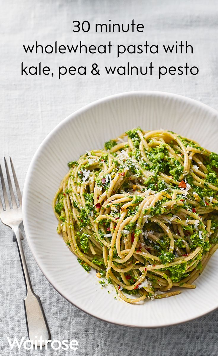 High in fibre, our wholewheat pasta with fragrant kale, pea and walnut pesto is one for the whole family to enjoy. To finish, add grated Parmesan and chilli flakes. See the full recipe on the Waitrose website.