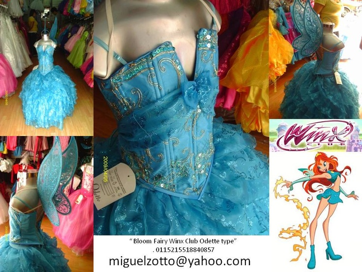 Winx Club Bloom butterfly Disney Princess fairy doll party pageant bridesmaid medieval blue graduation dress cosplay quinceanera costume. $95.00, via Etsy.