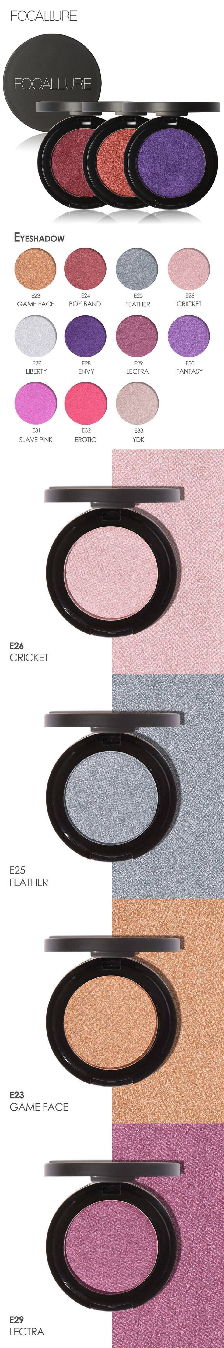 FOCALLURE Shimmer Eyeshadow Palette Cosmetic 11 Color Single Eye Shadow Makeup Party Waterproof Makeup Eye Shadow Maquiagem