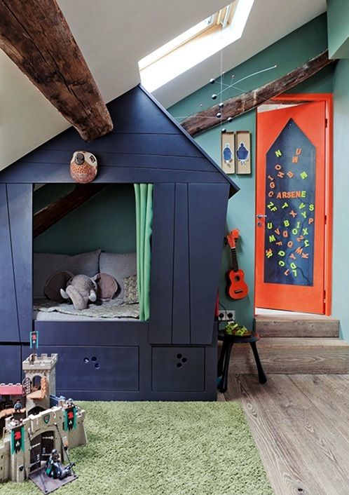 Kid Space Stuff ~ kids indoor playhouse painted navy blue