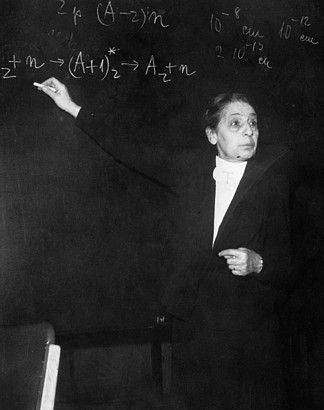 Lise Meitner  1878-1968  Lise Meitner was an Austrian, physicist who worked on radioactivity and nuclear physics. Meitner was part of the team that discovered nuclear fission, an achievement for which her colleague Otto Hahn was awarded the Nobel Prize. Meitner is often mentioned as one of the most glaring examples of women's scientific achievement overlooked by the Nobel committee.  Element 109, Meitnerium, is named in her honor.