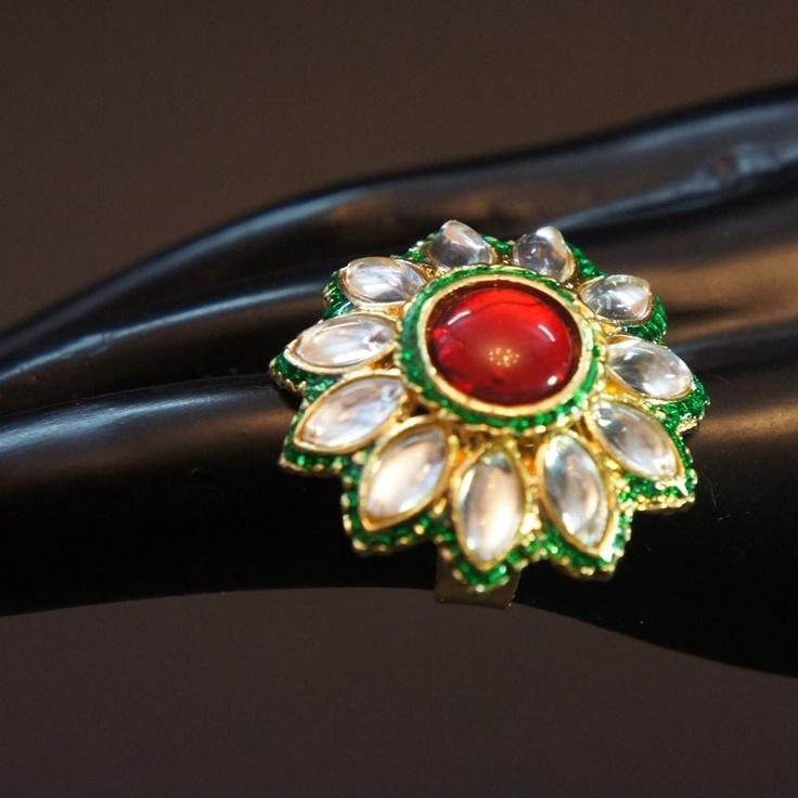 Kundan Maroon Ring