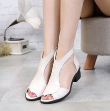 Nueva malla de cuero genuino sandalias de verano mujer botas 2016 venta caliente botines zapatos de las mujeres sandalias de punta abierta sandalias de verano(China (Mainland))