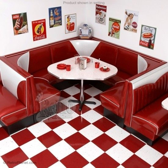 If you have room, you have to do me a favor and take advantage of Retro Planet's free shipping deal on their retro diner booths. Wanna take a few measurements of your breakfast nook, or maybe your game room, and then check out some of these awesome booths? If you promise to get one of these and let me live vicariously through you, I'll show you my dream booth. Lookie...