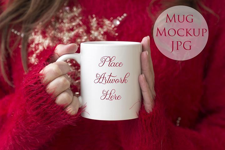 Professional Styled Stock Photo for Mug Mockup   Woman holding a mug, Red christmas jumper This can be used for your business in websites, blogs, online shops, etc.  Simply open in any software that can handle images like Photoshop,  canva, Pic Monkey, Gimp, work, MS Pint etc. and overlay your images or  text onto our styled stock backgrounds. Images can be changed in a  variety of ways to reflect you own style and personal taste
