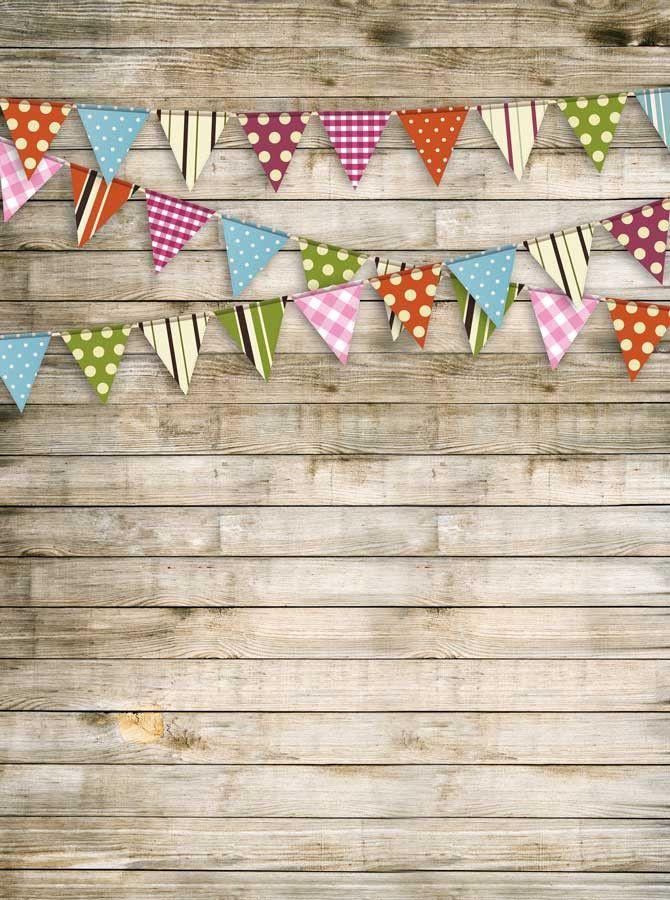 9077 Printed Washed Wood Bunting Flag Backdrop