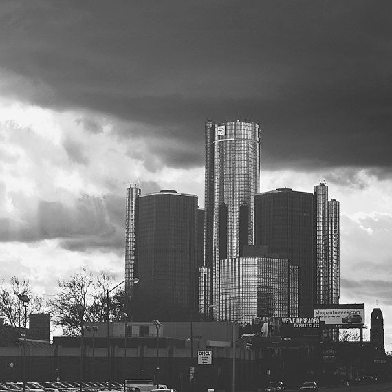 DETROIT PHOTOGRAPHY    Title: Stormy Renaissance Center Other sizes available upon request    New vintage (new photograph edited to look vintage)