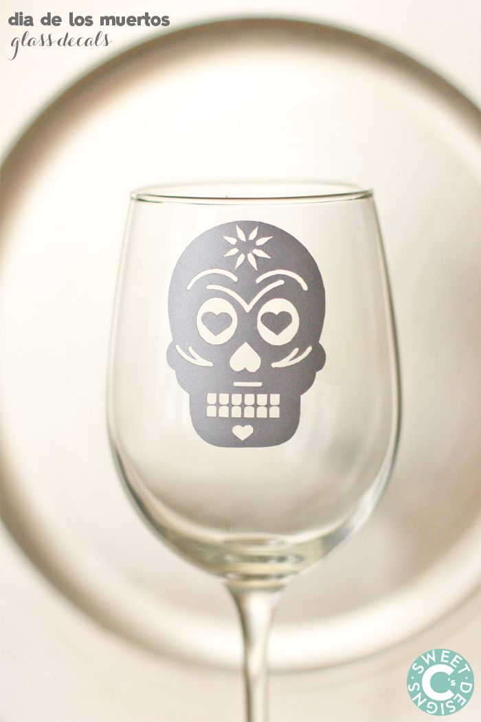 Dia De Los Muertos Glass decals made with Cricut Explore -- Sweet C's Designs. #DesignSpaceStar Round 3