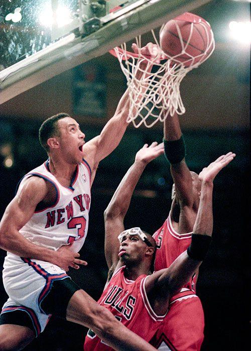 John Starks dunks on Michael Jordan and Horace Grant