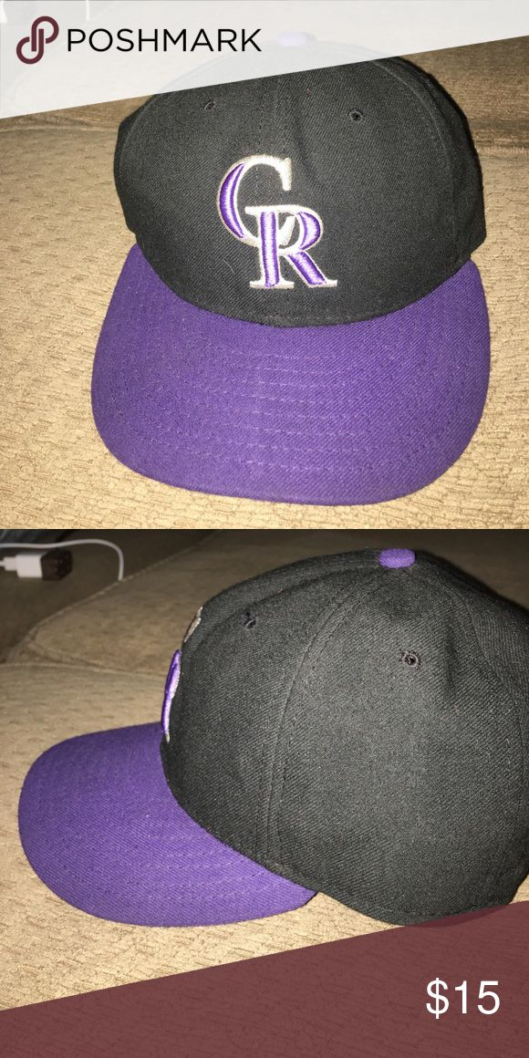 Fitted baseball cap Black and purple baseball fitted cap Accessories Hats