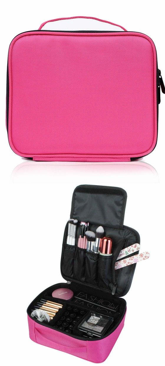 Portable Mini Travel Oxford Soft Makeup Bag With Velcro Dividers In Pink Joligarce Brush Compartment Cosmetic Holder
