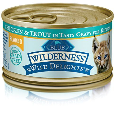 BLUE Wilderness Wild Delights Kitten Flaked Grain Free Chicken & Trout in Tasty Gravy Wet Cat Food 3-oz (pack of 24) - Because cats love meat, BLUE Wilderness Wild Delights Chicken & Trout goes a step beyond our protein-rich Wilderness recipe and boasts two tasty meats for your kitten to enjoy, providing her with a higher concentration of the chicken and trout she loves. Tender, delectable chunks of real chicken ...