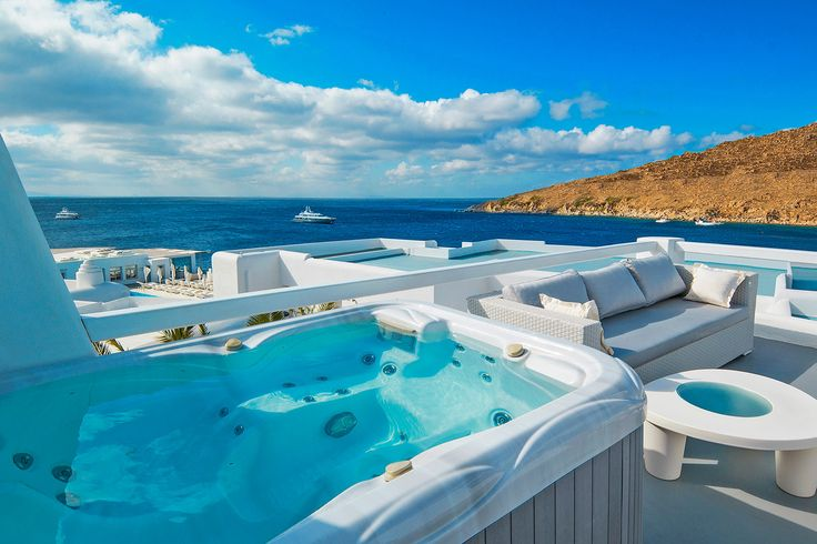 Enjoy the Heated Jacuzzi located on the roof top terrace of the Outdoor Jacuzzi Classic Room. Combine an amazing view with the ultimate relaxation only here at Petasos Beach Resort. https://www.petasos.gr/accommodation/rooms/#outdoor-jacuzzi-classic-room  #PetasosBeach #Mykonos #PlatisGialos #Petasos #Beach #Summer2017 #Summer #SummerHolidays #SummerVacation