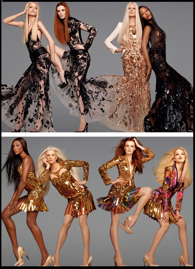 Roberto Cavalli ADV SS 2012... ricordando un age d'or e un'epoca irripetibile, in cui il dream team di top model sfilavano sulle passerelle di Gianni Versace, incantando il mondo intero!
