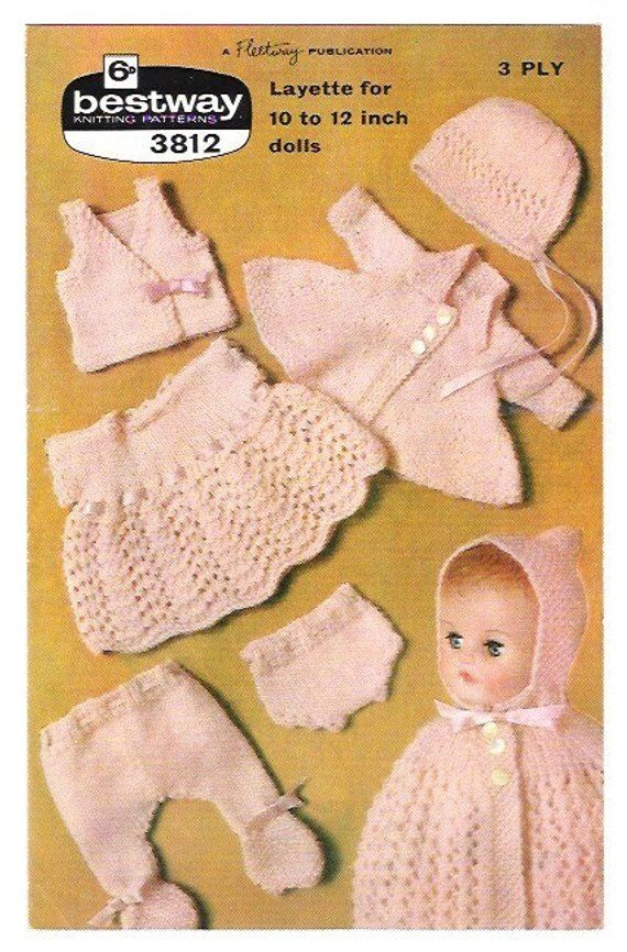 Vintage Knitting Pattern Dolls Clothes Rosebud Vintage Doll Knitting 1950 Pattern Pdf Del Knitting Dolls Clothes Vintage Knitting Patterns 12 Inch Doll Clothes