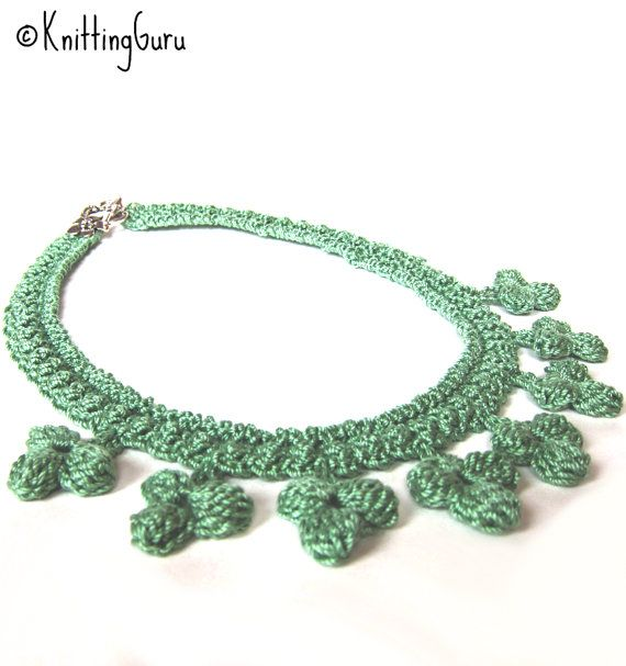 Soft Sage Green Irish #Crochet Necklace for St. Patrick's Day and beyond. from #KnittingGuru ** http://www.KnittingGuru.etsy.com