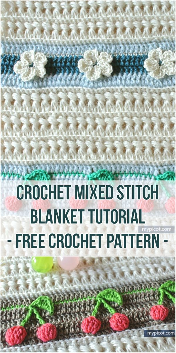 Crochet Mixed Stitch Blanket Tutorial - Free Crochet Pattern #stitch #crocheting #crochetlove #freepattern