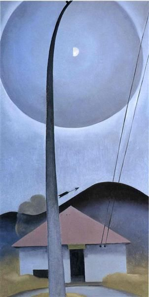 Little House with Flagpole by Georgia O'Keeffe. Precisionism. landscape