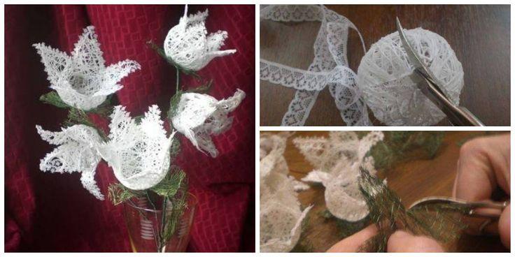 Кружевные цветы из ниток