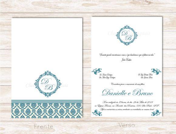 Convite Casamento Arabescos Digital Dobravel Com Imagens