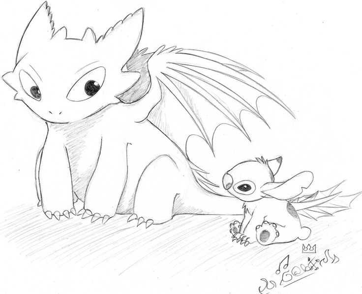 toothless and stitch | Toothless Drawing