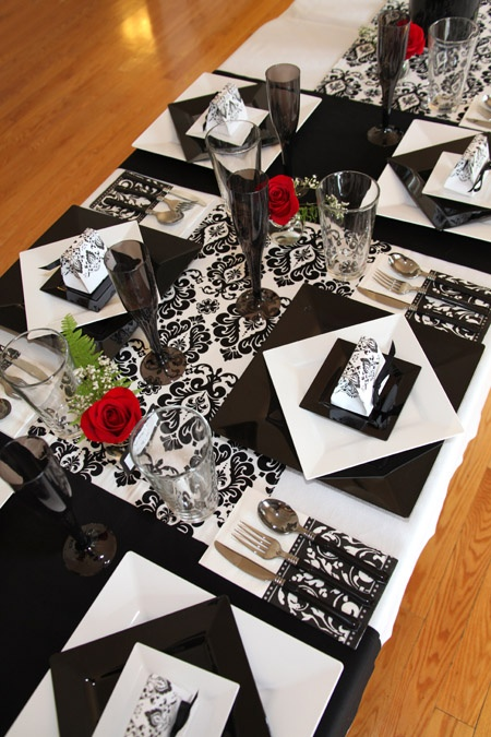 Black and White Wedding Place Settings
