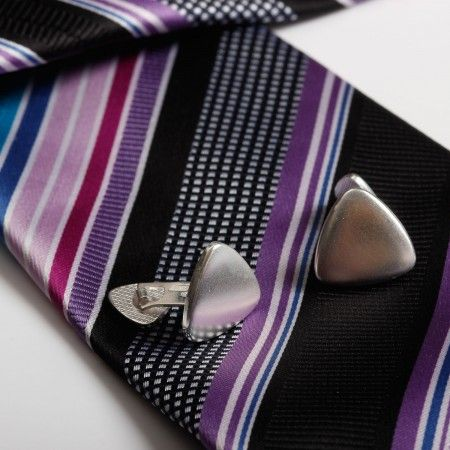 Pair of sterling silver triangle cufflinks can be engraved for a great silver anniversary gift idea.