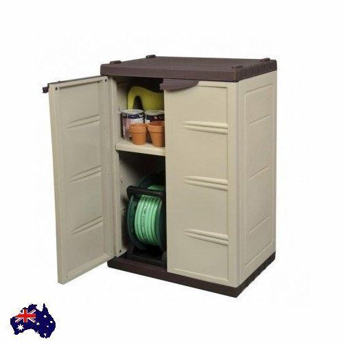 Cupboard w/ Key Waterproof Outdoor Garden Veranda Shelf Storage Tool Hose New