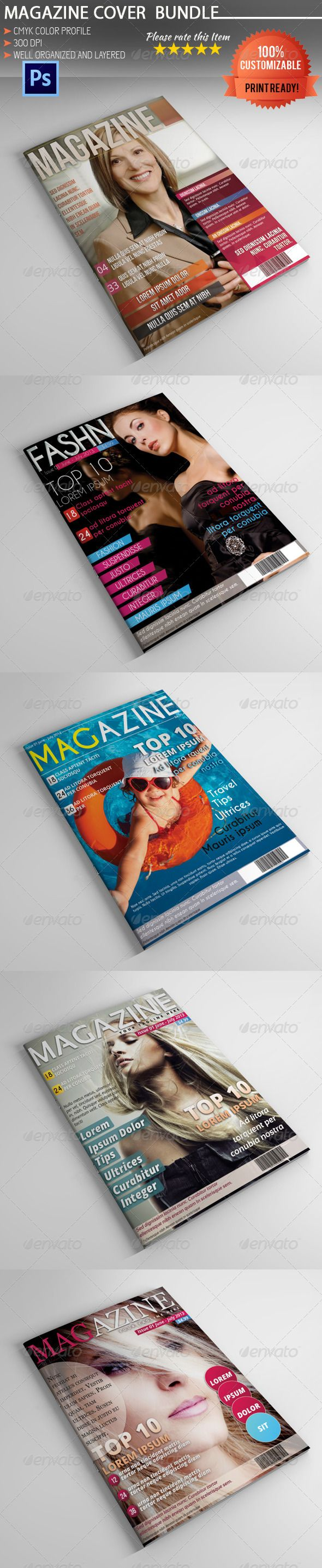 Magazine Cover Template Bundle - Magazine Template PSD. Download here: http://graphicriver.net/item/magazine-cover-template-bundle/5287446?s_rank=341&ref=yinkira