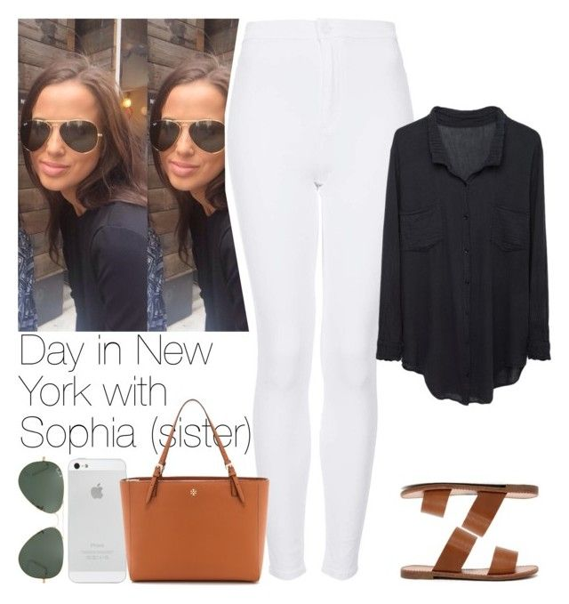 """""""Day in New York with Sophia (sister)"""" by lottieaf ❤ liked on Polyvore featuring Topshop, Raquel Allegra, Breckelle's, Ray-Ban, Tory Burch, women's clothing, women, female, woman and misses"""