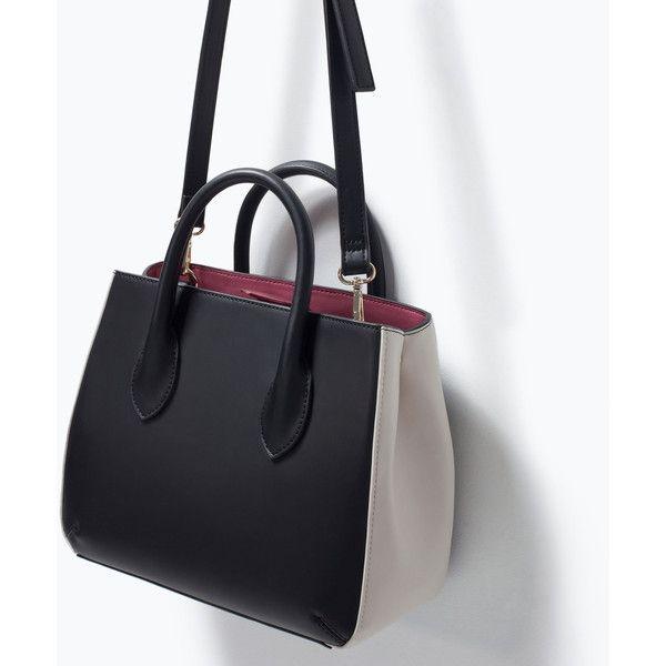 Zara Mini City Bag (195 BRL) ❤ liked on Polyvore featuring bags, handbags, mini city bag, city bag, zara purse, zara bags and zara handbags
