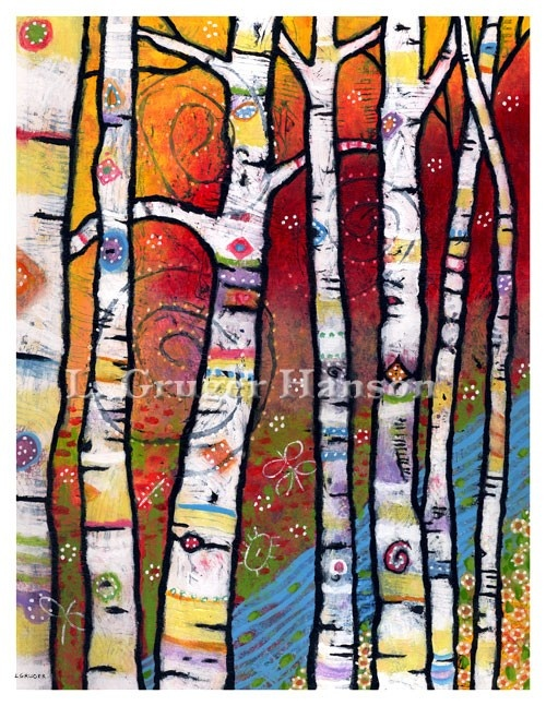 Reinterpretation of Birch tree project: Trees Art, Birches Trees, Magic Woodland, Art Journals, Trees Paintings, Woodland Prints, Rivers, Trees Singing, Art Projects