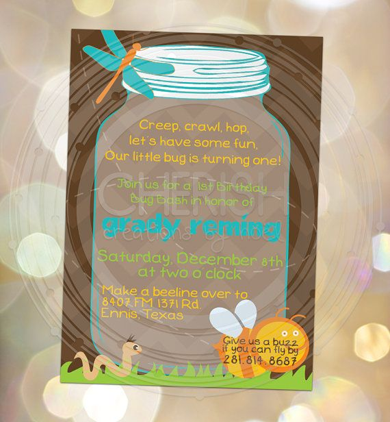 Bug Bash - Birthday Party - Baby Shower - Mason Jar - Little Boys - Love Bug Invitations Custom Invites