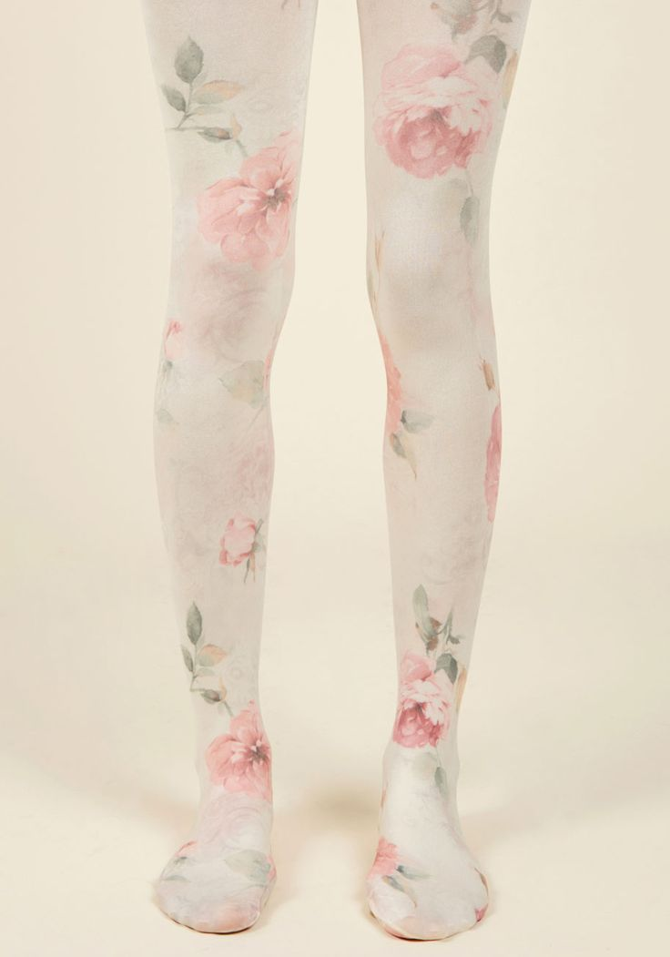 As Fleur Your Request Tights | Mod Retro Vintage Tights | ModCloth.com Jonesing to add a touch of nostalgic elegance to your ensembles? These ivory tights just might be the accessory you so desire! Patterned with vintage-inspired blooms in pink and green hues, this opaque pair taps into your affinity for eras of the past.