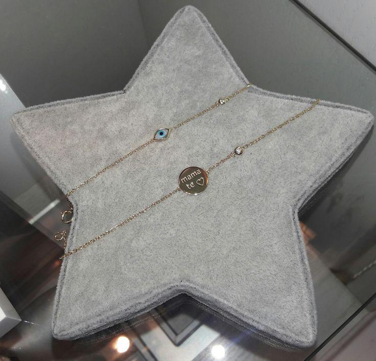 """Para esa persona especial un regalo aún más especial!!! Nuestras pulseras de Plata bañadas en Oro de 18K con motivos de ojo Turco y círculo """"Mamá te amo"""", delicadas y espléndidas en todo momento. #jewelry #joyeria #pulseras #plata #bañodeoro #beautiful"""