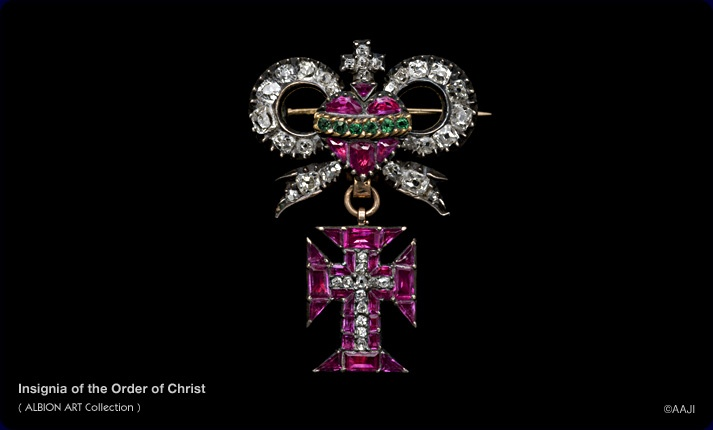 Gold, silver, diamond, ruby and emerald insignia of the Order of Christ, made in Portugal, c.1780; incorporates a cross and a sacred heart, weeping diamond tears and enclosed by an emerald crown of thorns. (albionart.com)Ruby, Albionart Com, Art Collection, Sacred Heart, Albion Art