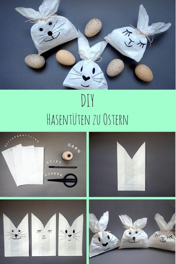 Ein einfaches und schnelles Oster DIY: Niedliche Hasentüten zu Ostern . Zusammen mit Kindern basteln und sich auf den Osterhasen freuen. #osterdiy #ostern #bastelnfürostern #basteln #osterhase hasentüten