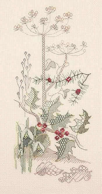 Winter Panel Blackwork Kit from Derwentwater Designs