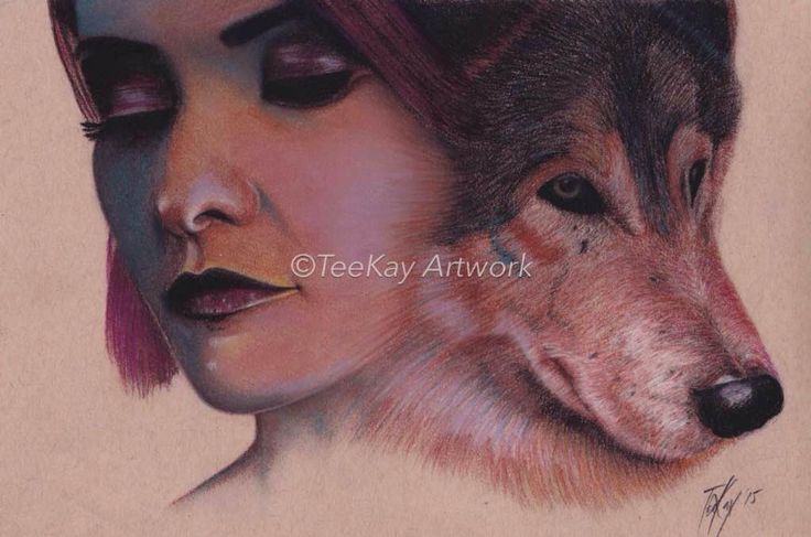 Teekay Artwork Girl & Wolf  Original - Pastel  A4  in 21 x 30 frame  Print - A3 in a 30 x 40 frame