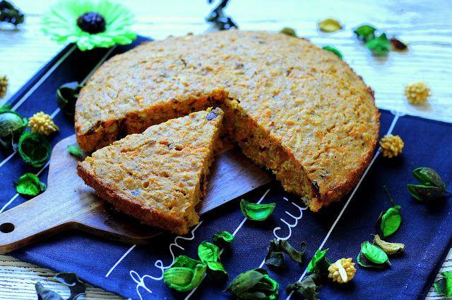 Mrkvovo-polentový koláč s brusinkami