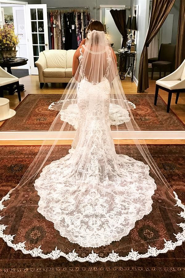 Mermaid Ivory Lace Long Wedding Dress With Train Long Veil Wedding Long Train Wedding Dress Wedding Dress Train