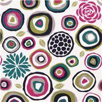 tessuto fiori e cerchi Crosscut verde petrolio Michael Miller Rustique
