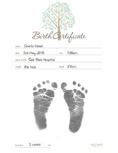 birth certificate template with footprints - Google Search