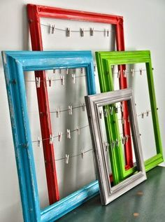 11 Ways to Organize with Clothespins – Framed Picture Organizer…not for pics, for displaying small items on wall like jewelry, scarves, mittens