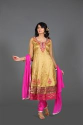 Picture of Gold and Hot Pink Kameez with Churidar